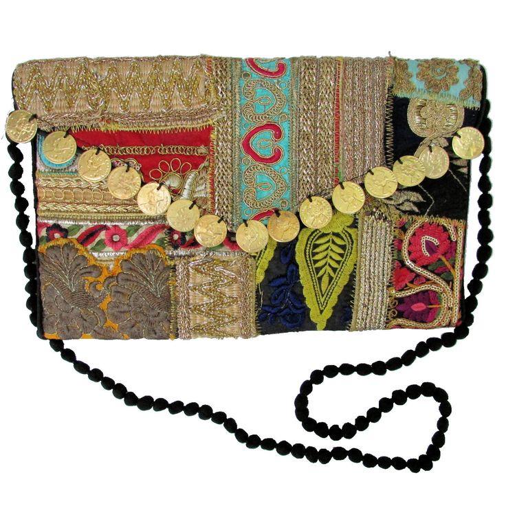 Unique Embroidered Handbag Boho Clutch Tablet Case Indian Handmade w/ Strap