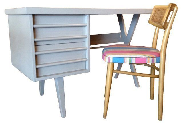 Mid-Century Modern Desk & Chair on @onekingslane @madcapcottage onekingslane.com/shop/madcapcottage
