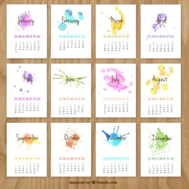 Mão calendário pintado com salpicos de aquarela
