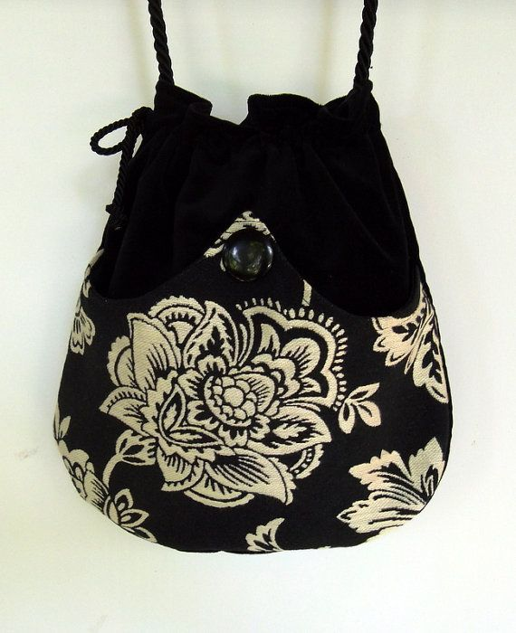 White Flower Tapestry Boho Bag Black Drawstring Bag Black Velvet Bag Bohemian Bag Crossbody Purse