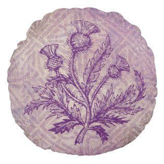 Schottische Distel-lila keltischer Knoten Rundes Kissen