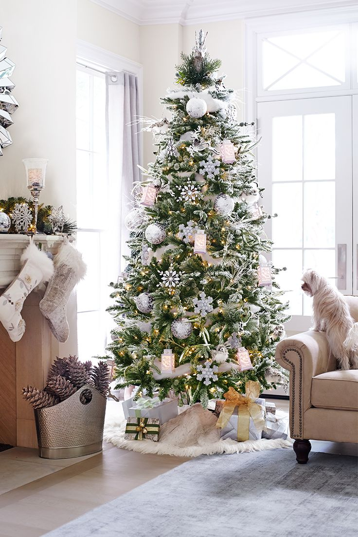 One of our trees looks a lot like this one, found at Pier One-- down to the fur-edged skirt. My ornaments are mostly white and natural pine cones. Very pretty!