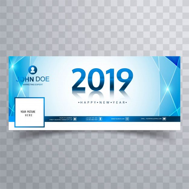 2019 new year facebook cover banner template design Free