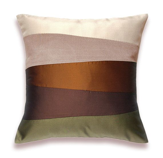 Cream Beige Rust Brown Olive Green Pillow Cover 16 In