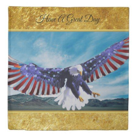 American flag Eagle flying in the sky gold foil tap/click to personalize or buy right now! a custom gold foil texture design Queen size Duvet cover come in 3 sizes #baldeagles #patrioticdesigns #Americanflag #4thOfJuly