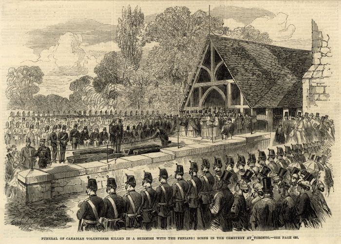 Funeral of Canadian Volunteers Killed in a Skirmish with the Fenians: Scene in the Cemetery at Toronto : Toronto Public Library