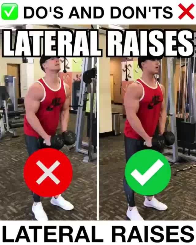 Loving these handy form vids  - Dumbbell Lateral Raises Proper Form by @aaron_nimmo - 3 Things to Avoid: ❌Swinging Shoulders- I will admit, as increasing weight, it is very difficult to keep from swinging your shoulder la forward and backwards. When you start seeing yourself doing this, it is a clear sign that you are using more weight than what your shoulders can completely control. Without fully controlling the weight, you are not getting 100% muscle activation. ❌Moving Neck- Moving your…