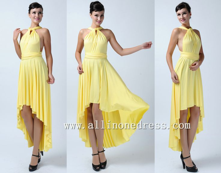 Yellow High low bridesmaid infinity dresses