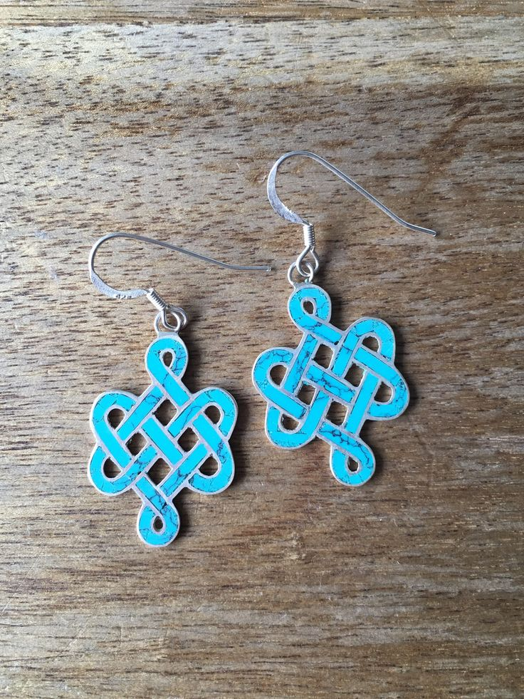 Turquoise Earrings - Nepalese Earrings - Tibetan Earrings - Buddhist Endless Knot Turquoise Inlay 925 Sterling Silver Earrings by RitaCollection on Etsy