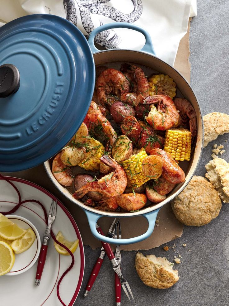 One-Pot Frogmore Steam | Chef Vivian Howard's version of Low Country Boil in Le Creuset Marine Blue.