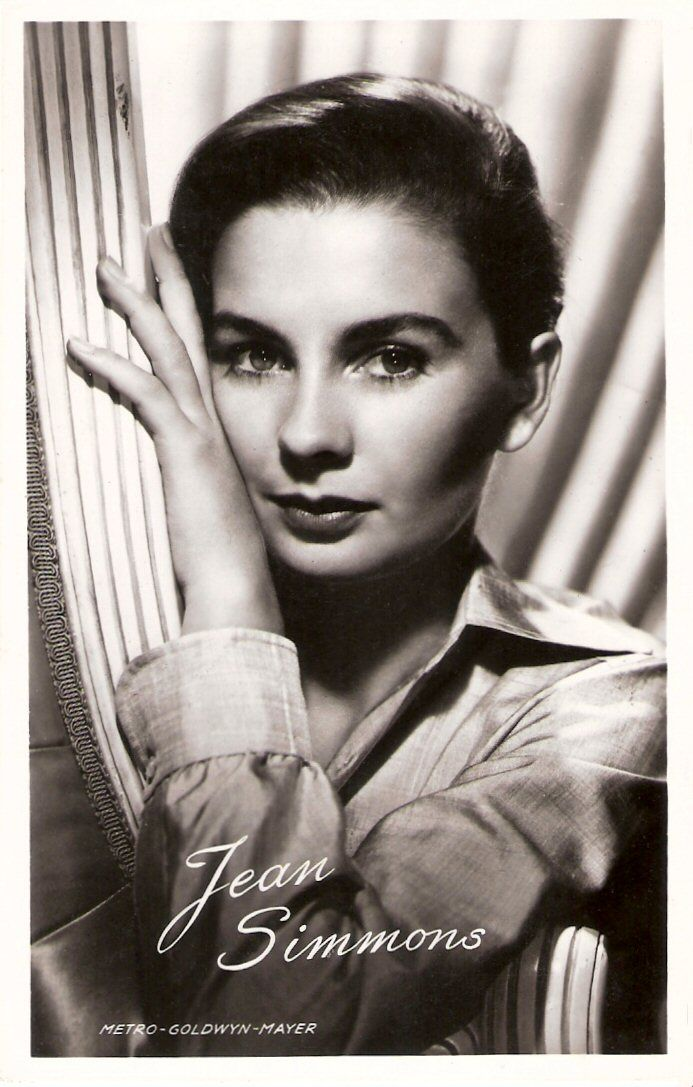 Demure, dark-haired English beauty Jean Simmons (1929-2010) was in the late 1940's a box office attraction in films like Great Expectations and Hamlet .