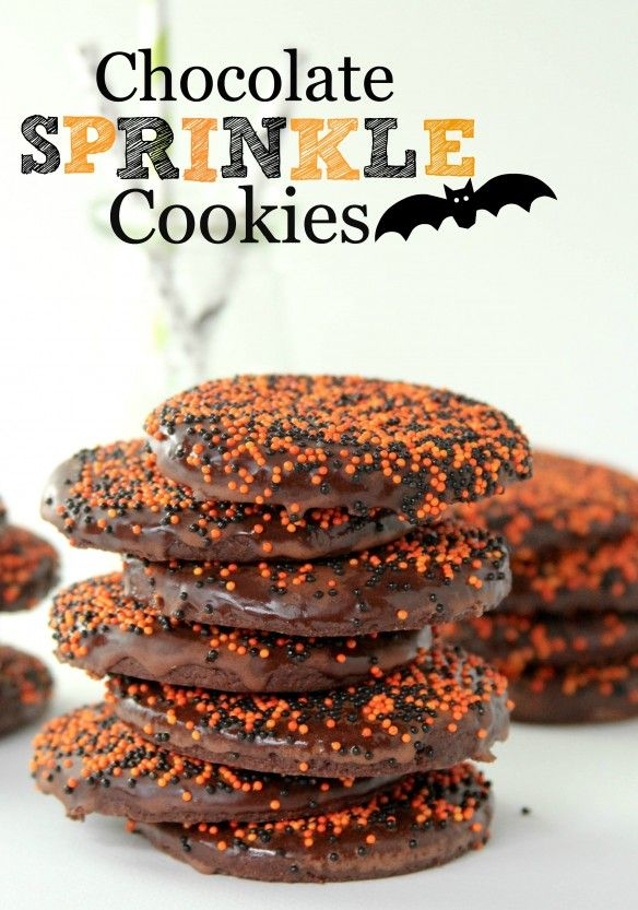 chocolate sprinkle cookies...blog says: These are seriously amazing cookies — they are soft and have a deep chocolatey flavor.  They taste just like brownies in cookie form!! The glaze sets up nicely and doesn't get all over your fingers.