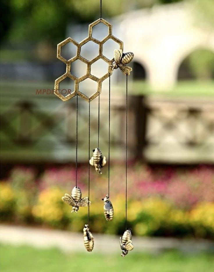 Bumble+Bee+Honeycomb+Wind+Chime+Hive+Metal+Garden+Art+Honey+Bees+Windchime+