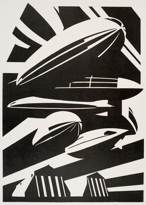 Paul Catherall Linocut The Cecil Higgins Art Gallery & Bedford Museum have a R100 & R101: Airships at Cardington exhibition - they commissioned an exclusive artwork from print maker Paul Catherall. Below.