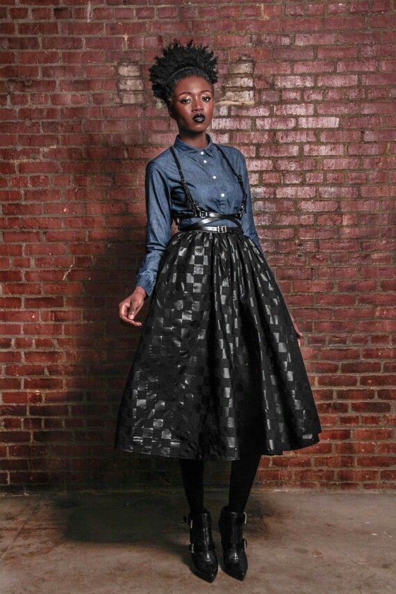 Midi Skirt with a denim top