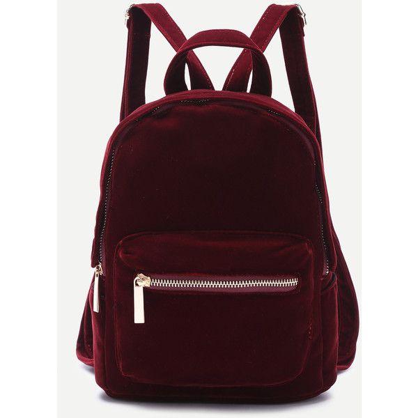SheIn(sheinside) Burgundy Pocket Front Double Handle Velvet Backpack (1,415 INR) ❤ liked on Polyvore featuring bags, backpacks, burgundy, daypack bag, backpack bags, day pack backpack, velvet bag and pocket backpack