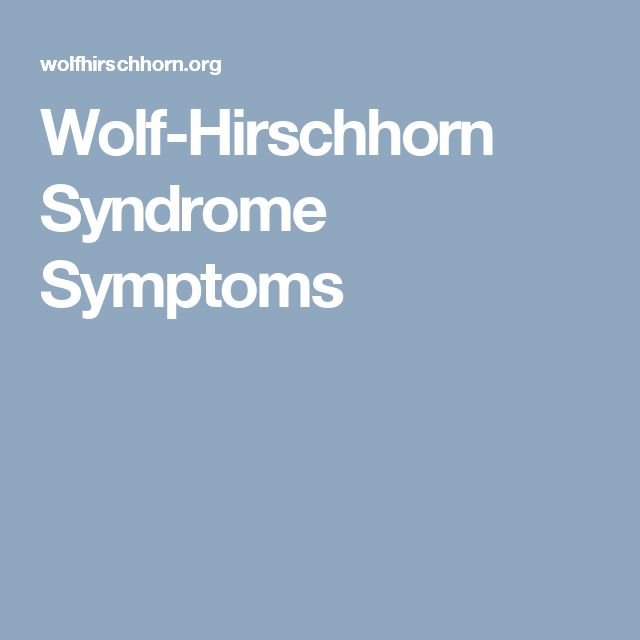 Wolf-Hirschhorn Syndrome Symptoms