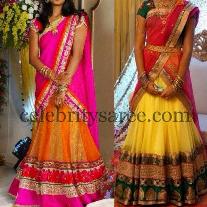 Simple Look Colorful Half Sarees