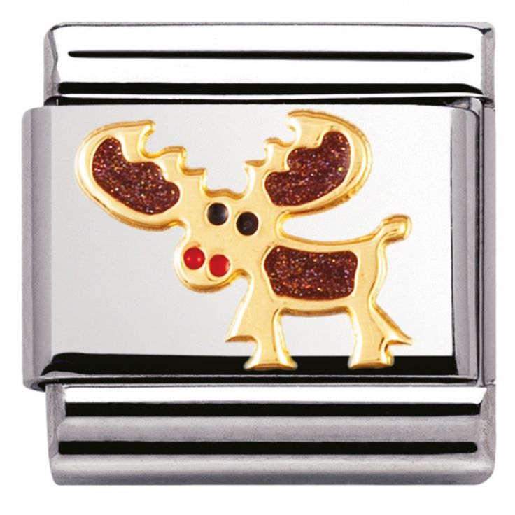 Nomination Composable Classic Land Animals Donkey Stainless Steel, Enamel and 18K Gold (