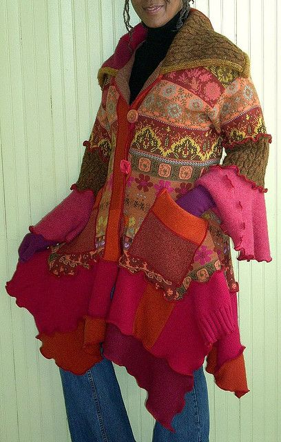 Pink and Orange Sweater Coat, front view