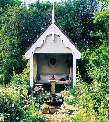 Garden retreat...Gardens Ideas, Farms Gardens, Gardens Seats, Gardens Nooks, Gardens Design Ideas, Modern Gardens Design, Guest House, Interiors Design, Reading Nooks