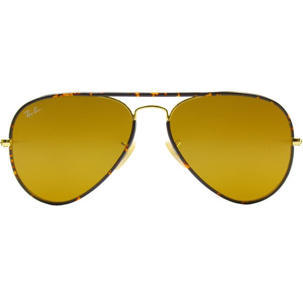 Ray-Ban RB 3025JM 001 Havana Gold Aviator Metal Sunglasses-58mm ($170) ❤ liked on Polyvore featuring accessories, eyewear, sunglasses, aviator eyewear, aviator glasses, gold aviator glasses, ray ban eyewear and gold aviator sunglasses