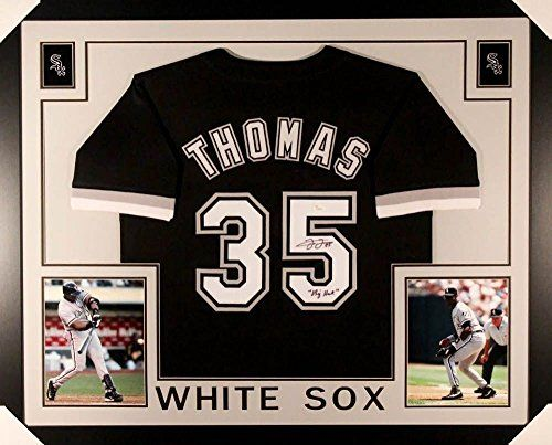 "Frank Thomas Signed White Sox 35x43 Custom Framed Jersey Inscribed ""Big Hurt""  White Sox  Frank Thomas  MLB"