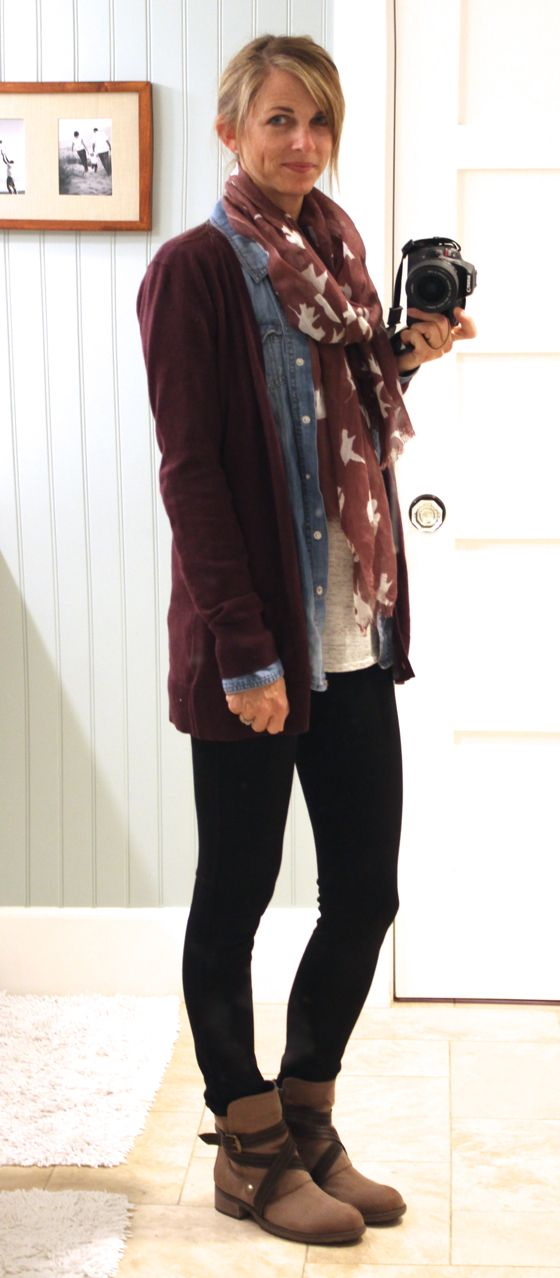 plum cardigan, chambray shirt, black ponte pants, scarf and booties