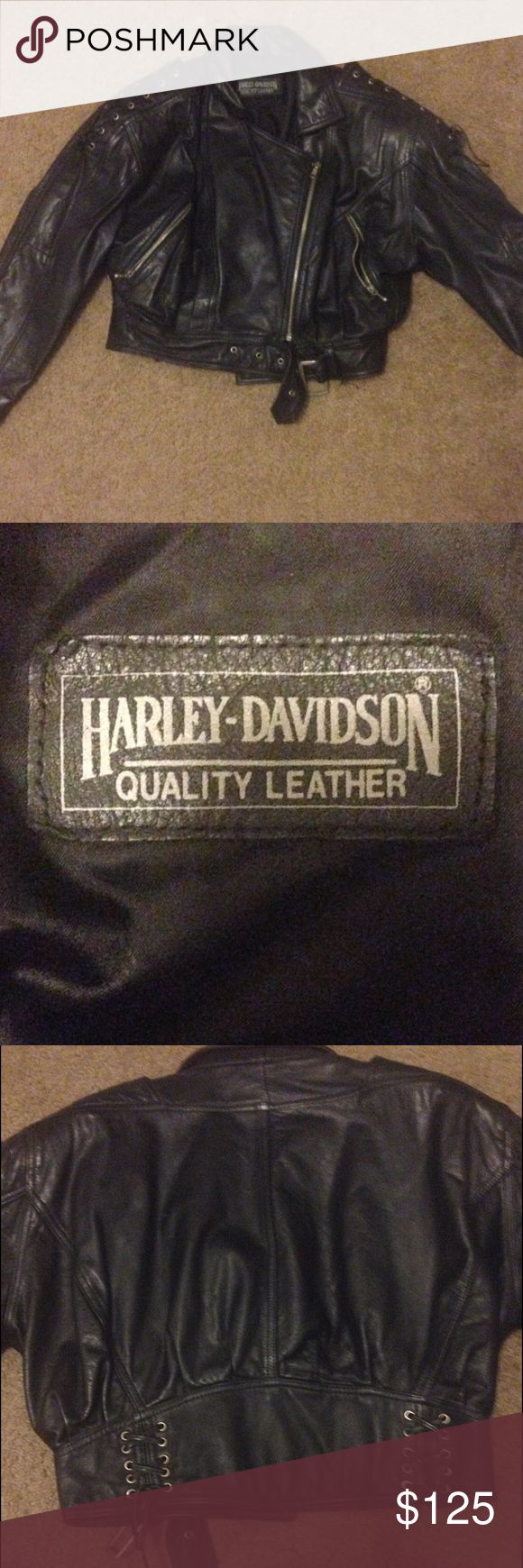 Harley Davidson leather jacket Size small vintage authentic Harley Davidson jacket. Laced up shoulders, zip up pockets and zip up front, bottom belt buckle. Great condition. Harley-Davidson Jackets & Coats