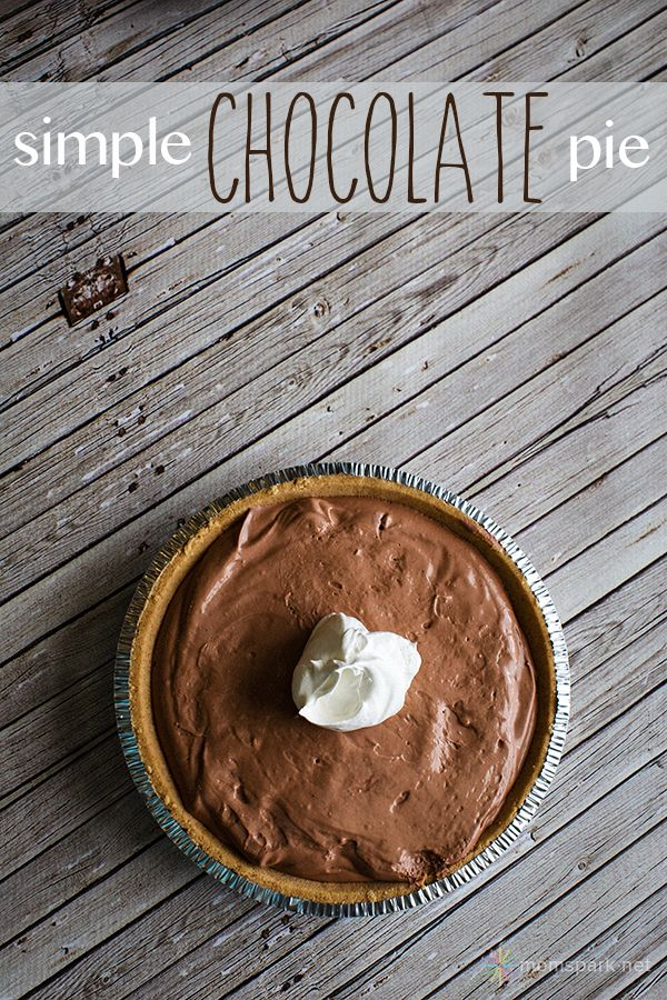 Simple Chocolate Pie Made with Jell-O Pudding | Mom Spark™ - A Blog for Moms - Mom Blogger