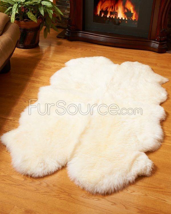4 Pelt Eggshell White Sheep Fur Rug Quatro Home Decor
