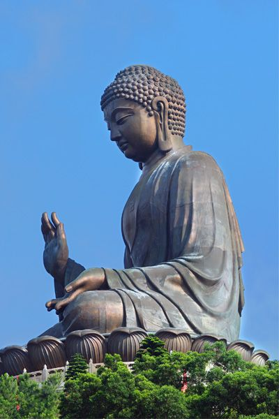 Hong Kongers love superlatives, even if making them true requires strings of qualifiers. So the Tian Tan Buddha is the world's largest Buddha---that's seated, located outdoors, and made of bronze.