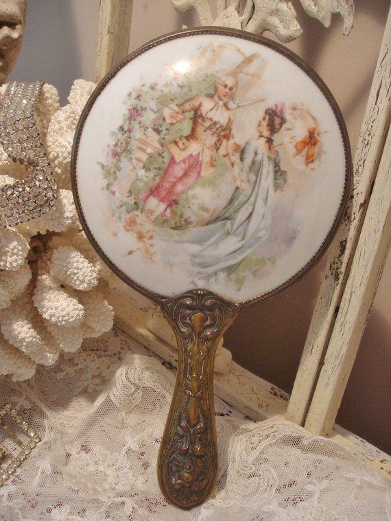 Antique Nouveau Hand Mirror Portrait on by GraceandPlenty on Etsy, $52.00