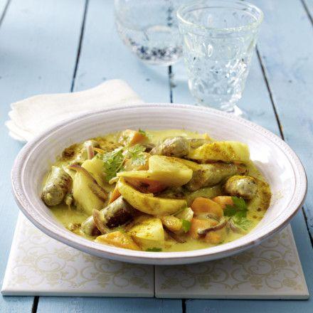 Mairübchen-Möhren-Ragout in Currysoße mit Bratwurst Rezept