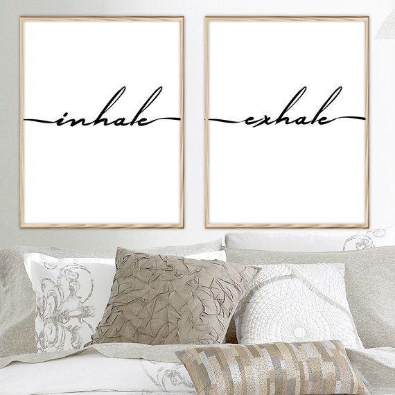 Inhale exhale, Inhale Exhale Print, Yoga Print, Pilates Poster, Breathe Print, Inspirational Quote, Modern Typography Print Art, Yoga Decor by PrintsHomeDecor on Etsy