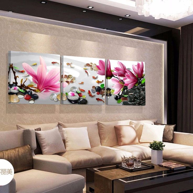 Flower Fish Wall Picture For Living Room Canvas Prints With Different Sizes At Competitive Price