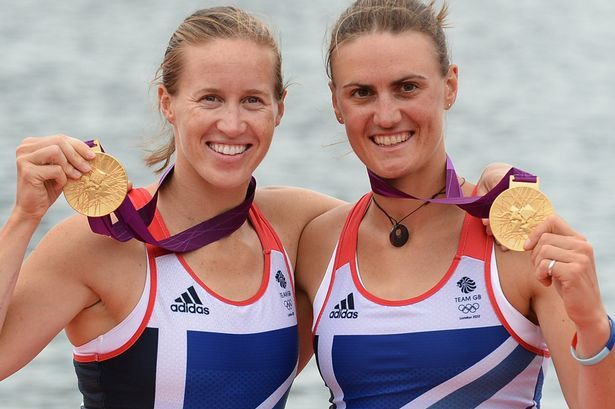 Brit rowing duo Stanning and Glover celebrate their gold