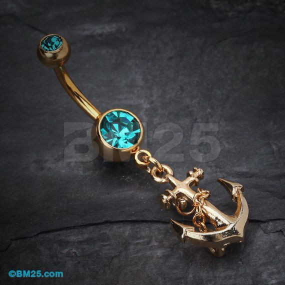 Golden Teal Classic Anchor Belly Ring by BM25Jewelry on Etsy