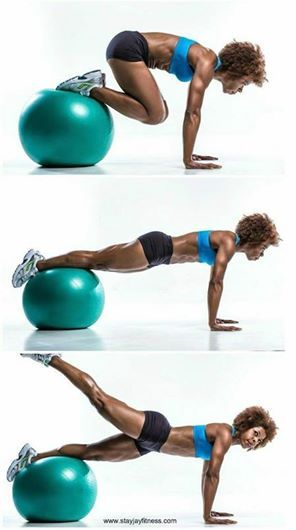 Grab a stability ball and try this one. Once you've balanced yourself, curl in and out, then lift one leg. Repeat as many times as you can, alternating legs, in 30 seconds. Works the core and the bum! #boombody #fitness #workout