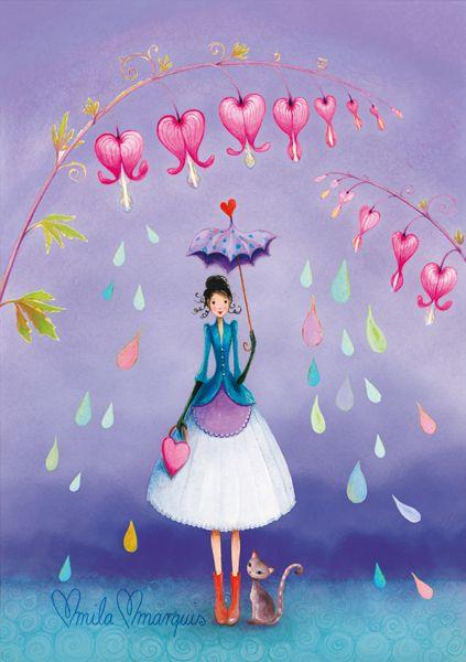 Mila Marquis illustration - bleeding hearts raining rainbow drops