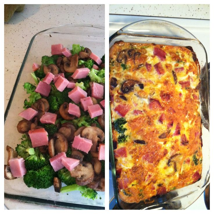 No/low carb meal I made tonight! Eric actually liked it! Sautéed mushrooms, cooked broccoli, cubed ham and cheese layered in a dish. 12 eggs, lightly beaten, without milk, and just a pinch of salt, poured onto layered dish. Baked for 45 mins on 375! Must remember again for this low carb diet! :)