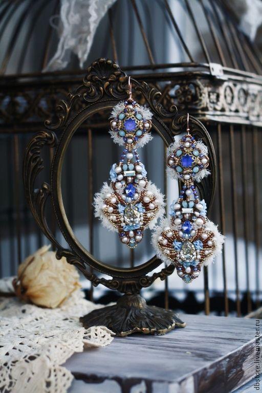 """Купить Серьги """"Версаль"""" - синий, серьги длинные, праздничные серьги, роскошное украшение, серьги вышитые"""