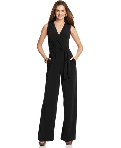 NY Collection Petite Surplice Belted Wide-Leg Jumpsuit sale $29.99 NOTE: THIS ONE ONLY COMES IN PETITE SIZES, EXTRA 20% OFF CURRENTLY!