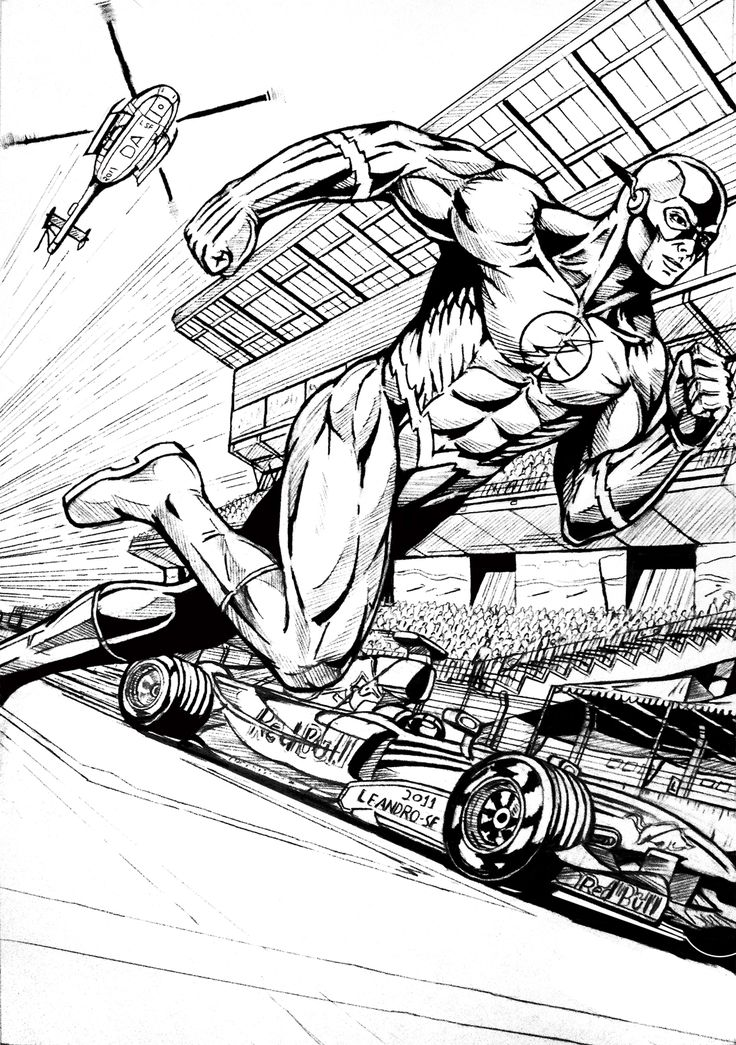 the flash superhero coloring pages