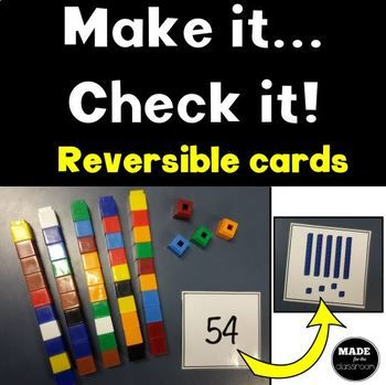 The perfect maths center for children learning about tens and ones! Self-checking because they are double-sided cards - great for independent work. How it works: * Supply a box of cubes and these task cards. * The children will read the number, make the number