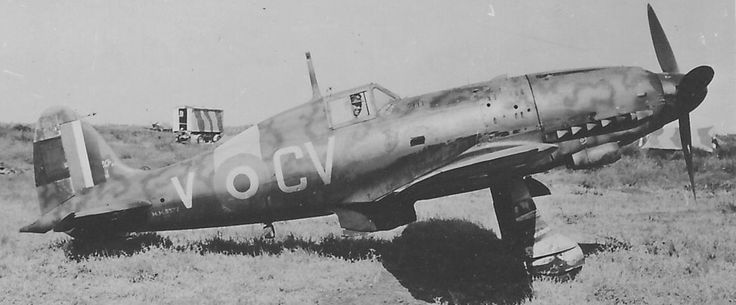 Captured Macchi MC205, CV-V, 3 Squadron RAAF at Pachino, Sicily