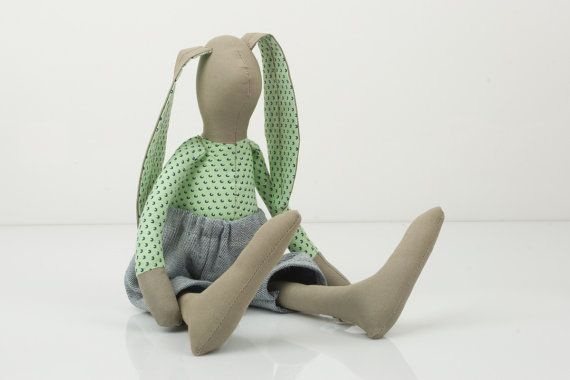 Easter Bunny  Khaki  rabbit in Green Mint with by TIMOHANDMADE, $53.00