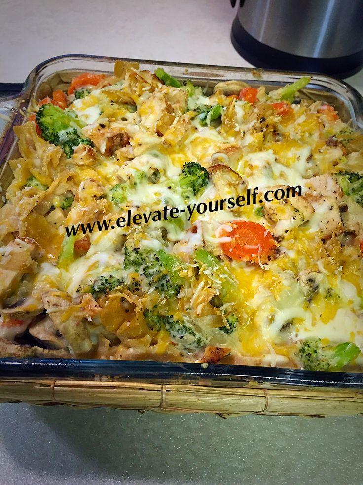 21 Day Fix Approved Buffalo Chicken Veggie Bake Casserole - 1 green,1 yellow,1 red,1 blue,2 tsp.