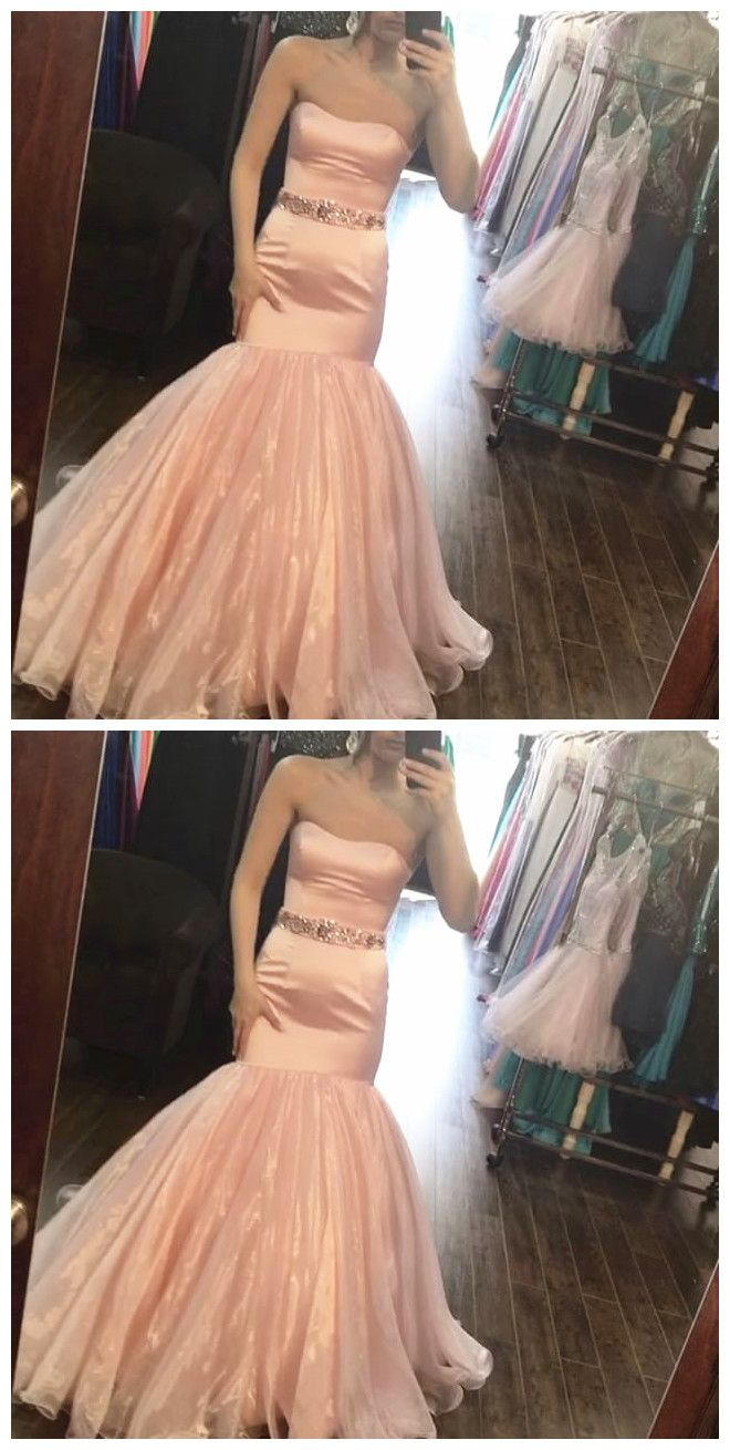 Blush pink satin mermaid prom dresses with crystal anneprom