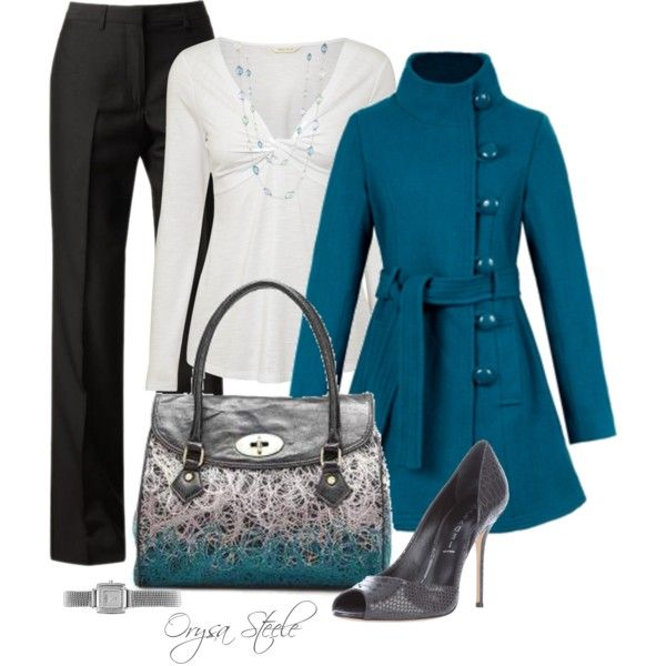 Teal Button Coat, created by orysa on Polyvore: Everyday Wear, Style, Aqua Blue, Teal Buttons, Buttons Coats, White Shirts, Jewels Tones, Work Outfits, Trench Coats
